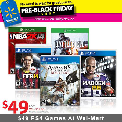 Pre-Black Friday Sale: $49 PS4 Games At Wal-Mart