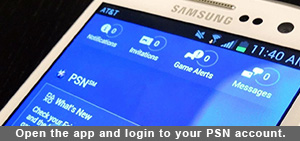 Open the app and login to your PSN account.