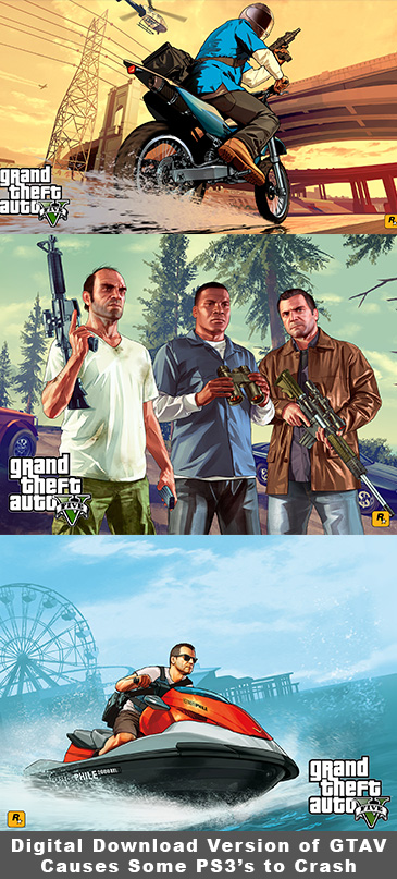 Digital Download Version of Grand Theft Auto V Causes Some PS3's to Crash