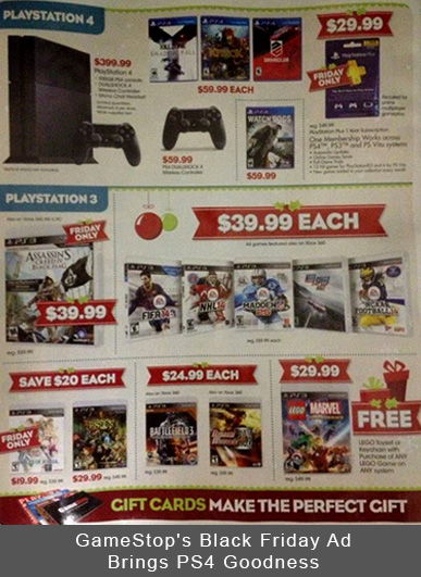GameStop's Black Friday Ad Brings PS4 Goodness