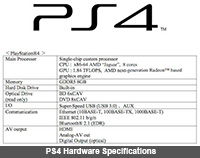 What are the hardware specifications of the PlayStation 4?