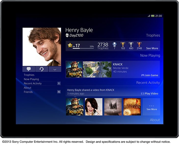 PS4 Profile Page On Mobile Phone