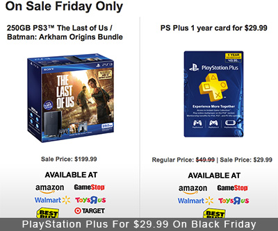 PlayStation Plus For $29.99 At Multiple Retailers On Black Friday