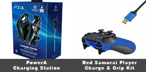 Red Samurai Player Charge & Grip Kit and PowerA DualShock 4 Charging Station