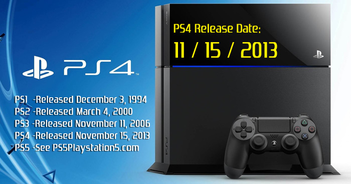 Playstation 4 Release Date : Ps and playstation release dates