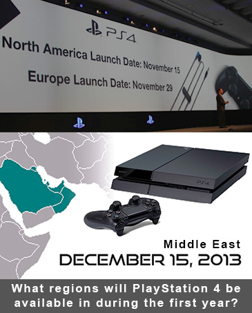 What regions will PlayStation 4 be available in during the first year?