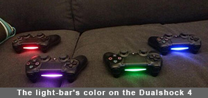 The light-bar's color on the Dualshock 4 shows you which controller is what player
