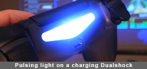 The pulsing light on a charging Dualshock lets you know how close it is to fully charged