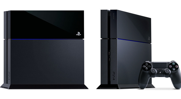 side front view of the ps4 with the dualshock 4. Black Bedroom Furniture Sets. Home Design Ideas